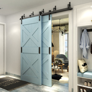interior double Z barn door with flat track Stainless Steel face mount sliding door hardware