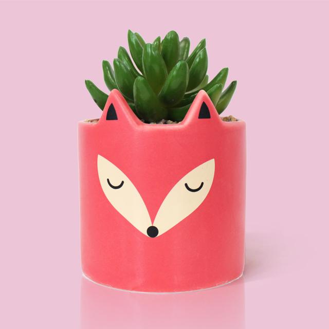 Cute Red Fox Ceramic Animal Shape Flower Pot Garden Decoration