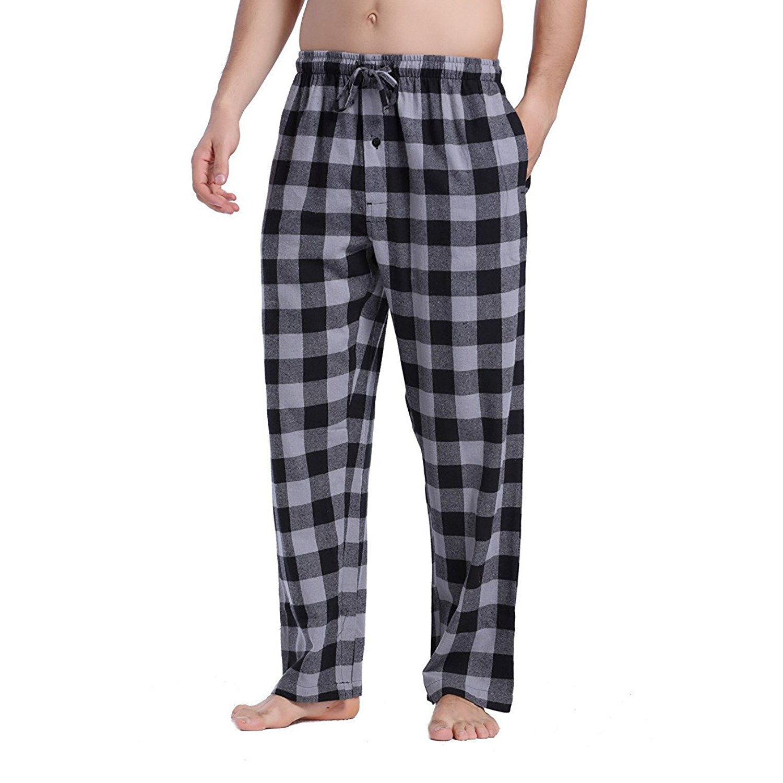 Get Quotations · Feng Huang Classical Pajama Pants - Men s 100% Cotton  Super Soft Flannel Plaid Pajama Pants 05b5672a8