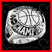 custom basketball championship ring with cz setting silver finish
