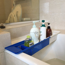Bath Toy Organizer Extendable Size Bathroom Storage Basket Telescopic Tub Storage Holder And Rack