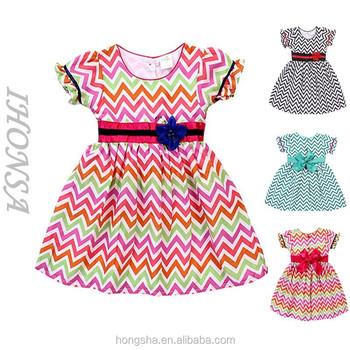 1312357d8 Moda cuello redondo zig zag niña vestidos moda diseño vestido para niña  HSD6788