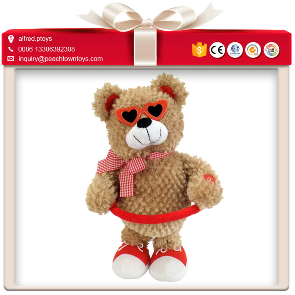 Standing position cool sunglass plastic teddy bear