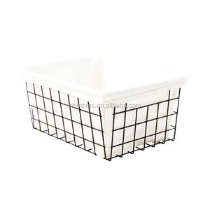 QJMAX High Quality Home Traditions Vintage Metal Wire Storage Basket with Removable Fabric Liner