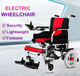 Portable aluminum alloy four wheel reinforced frame remote electric wheelchair
