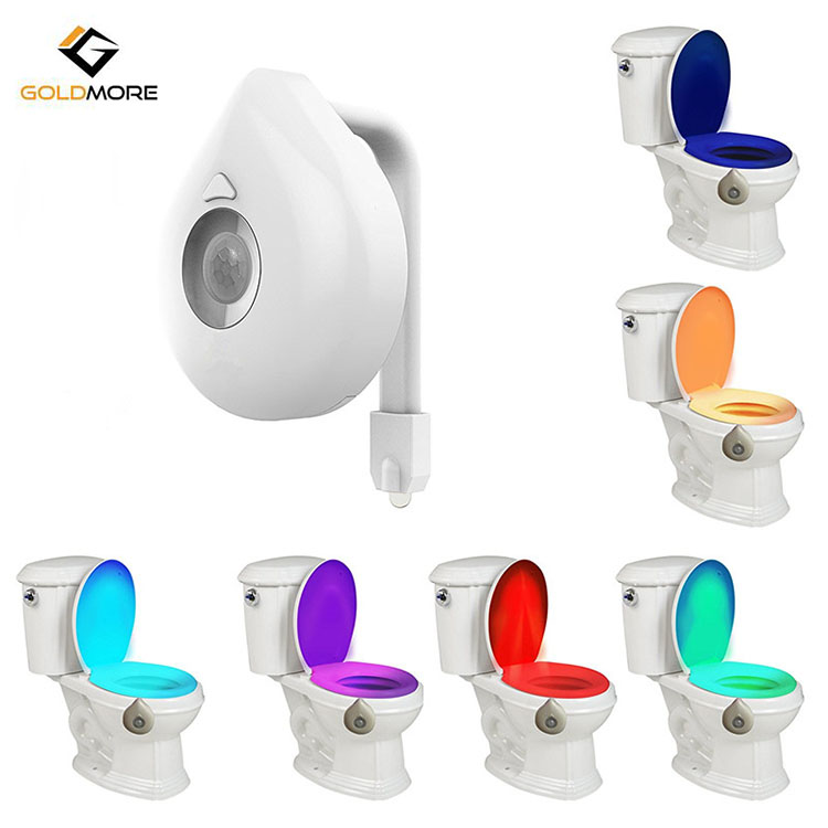 Goldmore Hot Sell Led Toilet Motion Activated Night Light with 8 Colors Changing led toilet light bowl seat night light