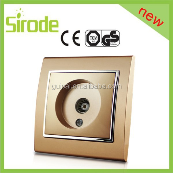 Luxury gold color EU Standard German type Satellite TV Wall Socket outlet