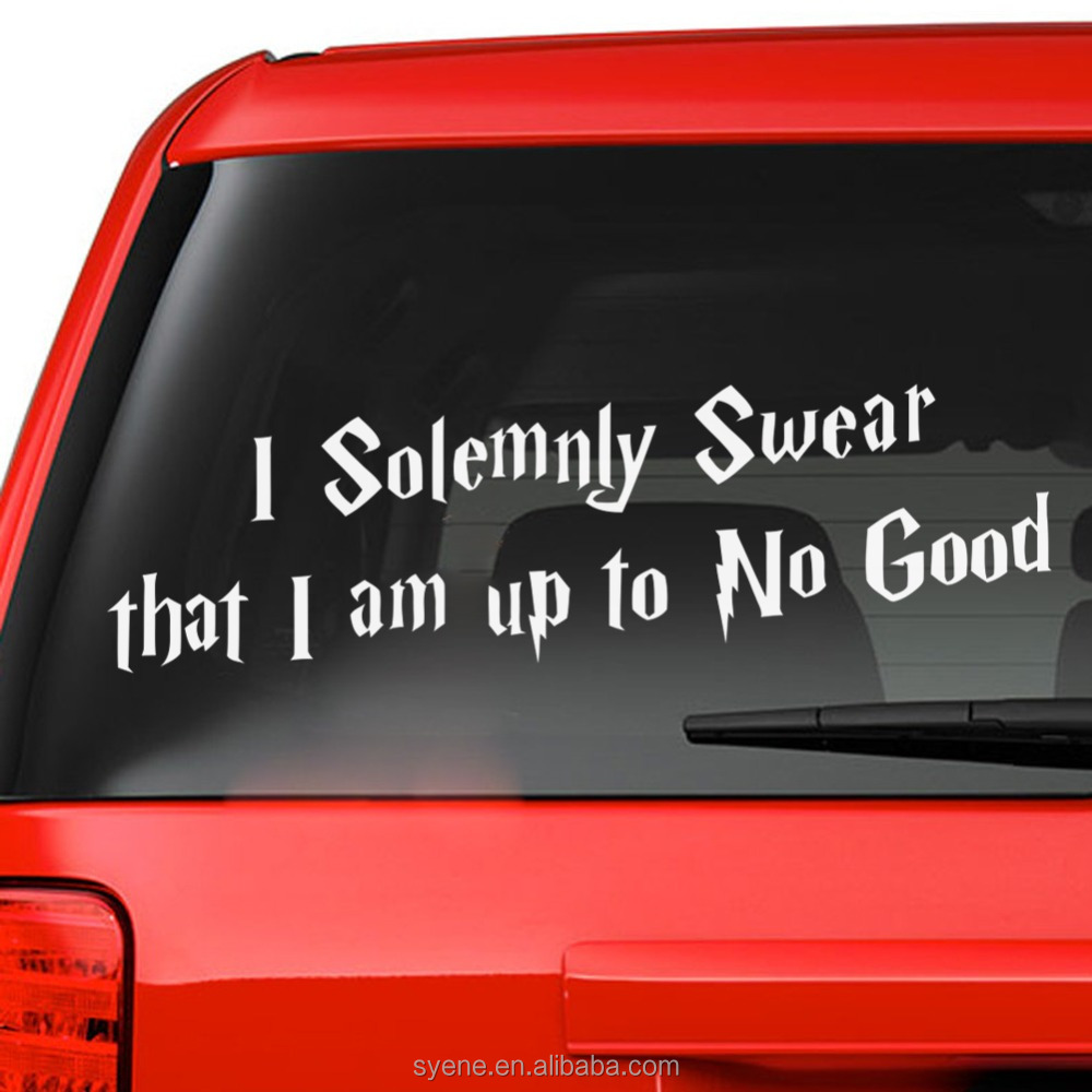 Car stickers custom art vinyl quotes i solemnly swear that i am up to no good letters car window stickers wall stickers decal