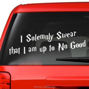 Car stickers custom art vinyl quotes i solemnly swear that i am up to no good