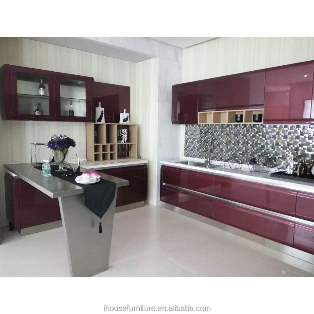 Wine Red Modern Kitchens Wall Mounted Glass Kitchen Cabinets Direct From China/Wall Mounted Glass Cabinet/Red Modern Kitchens