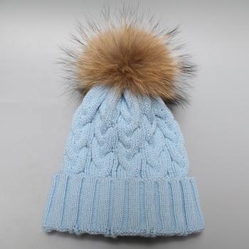 a5ba716f0744 Top grade genuine large fur pompon hat fur ball hat fur beanies ...