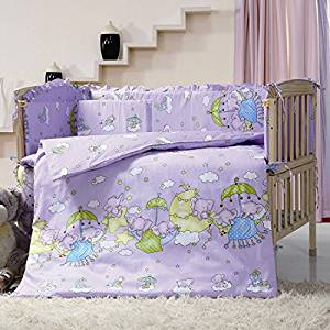 Purple Color Cartoon Fly Elephant Crib Bedding Sets,7 Pieces Baby Crib Bumper With Quilt,kids Cot Nursery Bedding Bumper Sets,Size 55.1'' x 27.5'' 140 x 70 CM