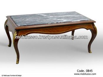 Luxury Antique French Coffee Table Style Louis Xv Inlay Marble Top