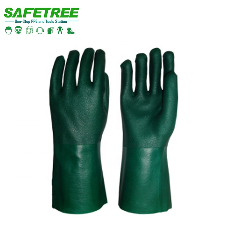 EN 388 4212 Sandy finished PVC Gloves , Double Dipped Safety Working PVC Gloves