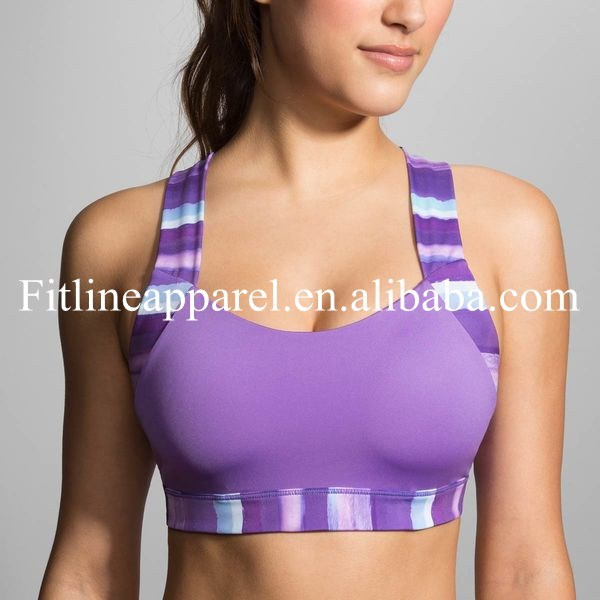 75f4ca4d28b Plus size elastic straps sports bra, sexy cross-back with contoured cups  for women
