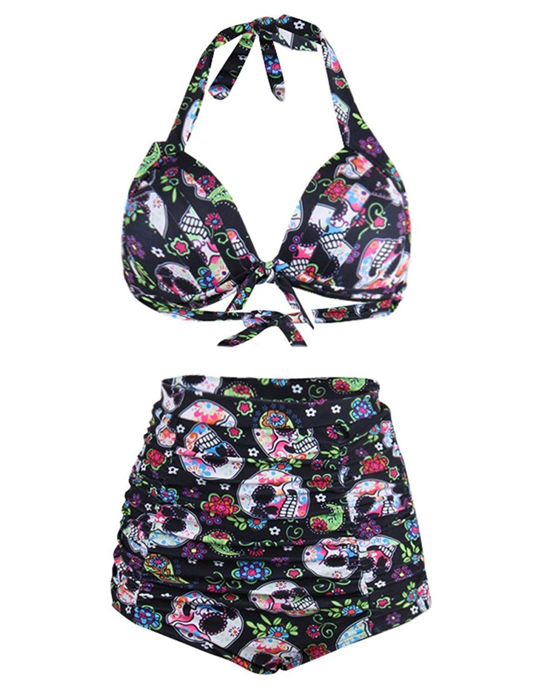 ... JOYMODE Women's 50s Retro Swimsuit Push Up High Waisted 2 Pieces  Swimwear S-3XL (