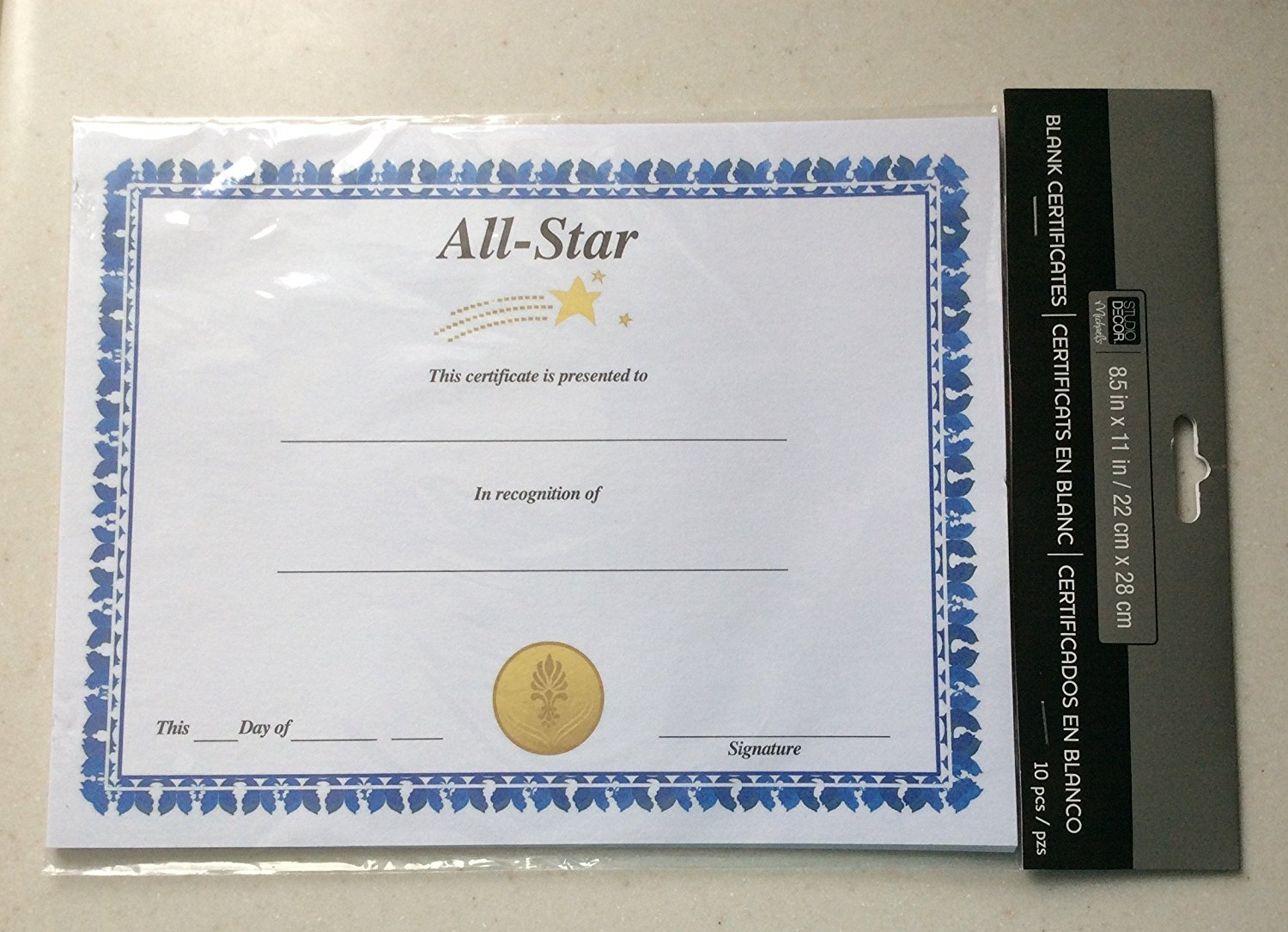 get quotations all star certificate of achievement blank 10 pack 85 x 11 inches