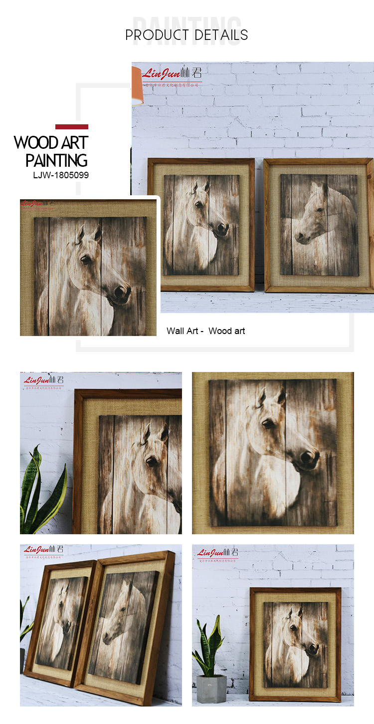 High quality beauty horses picture wood art for home decoration