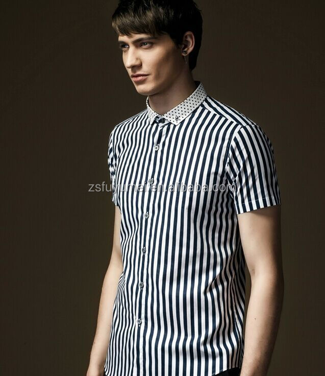 2016 Fancy Design Men Casual Shirt Short Sleeve Stripes Shirt ...