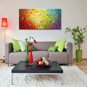 Hand Painted Texture Oil Painting on Canvas Abstract Wall Art Deco Contemporary Artwork