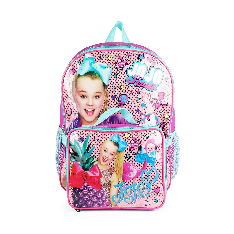 Nickelodeon JoJo Siwa Purple Bow Backpack with Insulated Lunch Kit School Bag