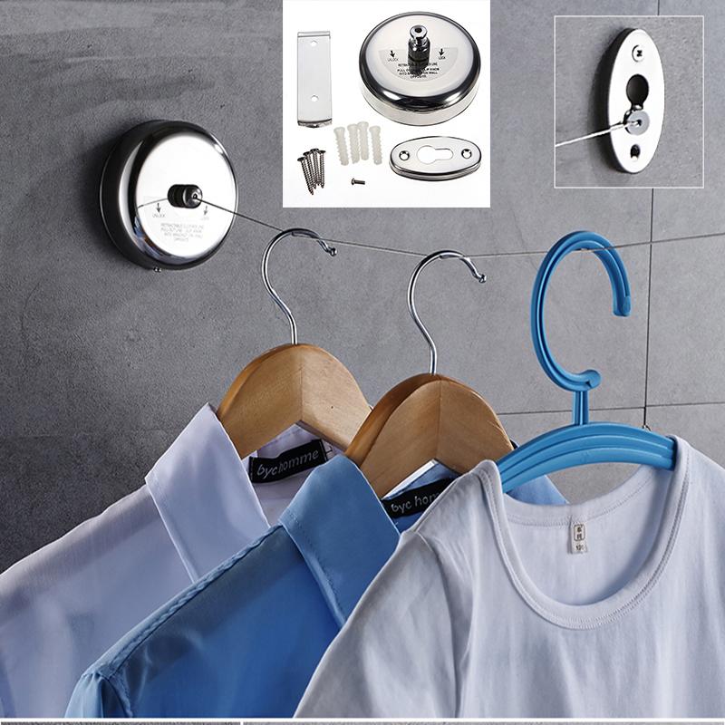 Aggiornamento argento applique da parete del Balcone montato In Acciaio Inox 304 8.2 ft retrattile linea di vestiti di lavaggio linea clothesline