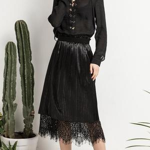 cz39424s-3# Smart italian design Lady Fan Slim on both sides wearing a-line long skirt lace skirt Black and Pink