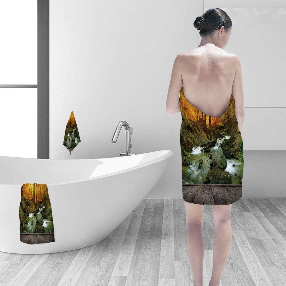 """Bath towel set Autumn creek woods yellow trees foliage and rocks in forest mountain and wood pier 3D Digital Printing No Chemical OdorEco-Friendly Non Toxic13.8""""x13.8""""-11.8""""x27.6""""-27.6""""x55.2"""""""