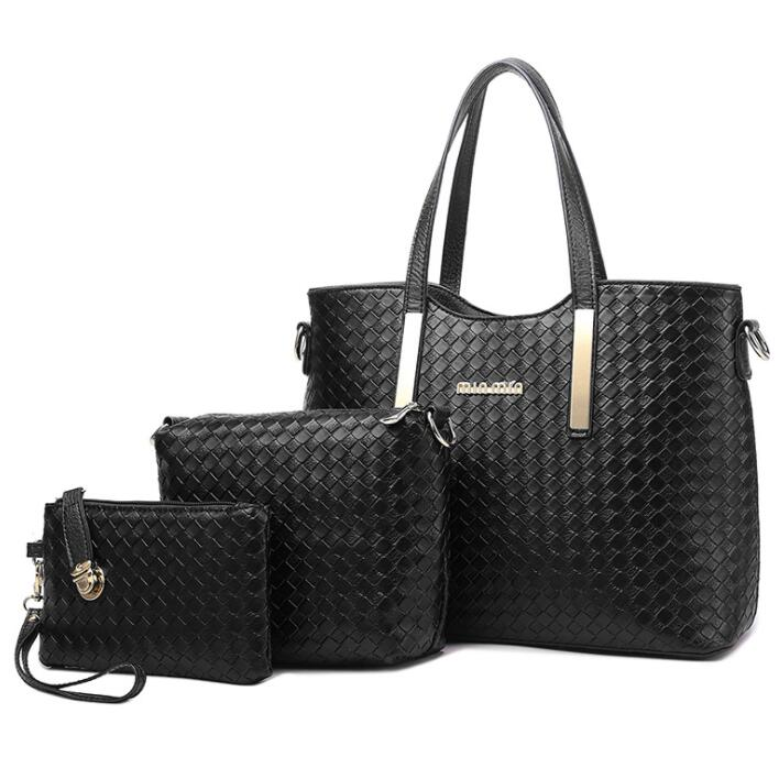 Free shipping elegant lady high quality handbags pu weave <strong>shoulder</strong> and clutch bags 3 pieces woman bag set