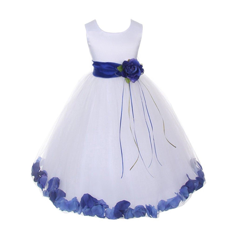 Cheap blue and white flower girl dress find blue and white flower get quotations kids dream little girls white satin royal blue petal sash flower girl dress 2 izmirmasajfo