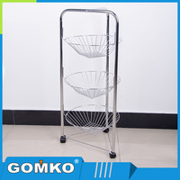 Portable Chrome Metal Kitchen Storage Rack With rolling wheels