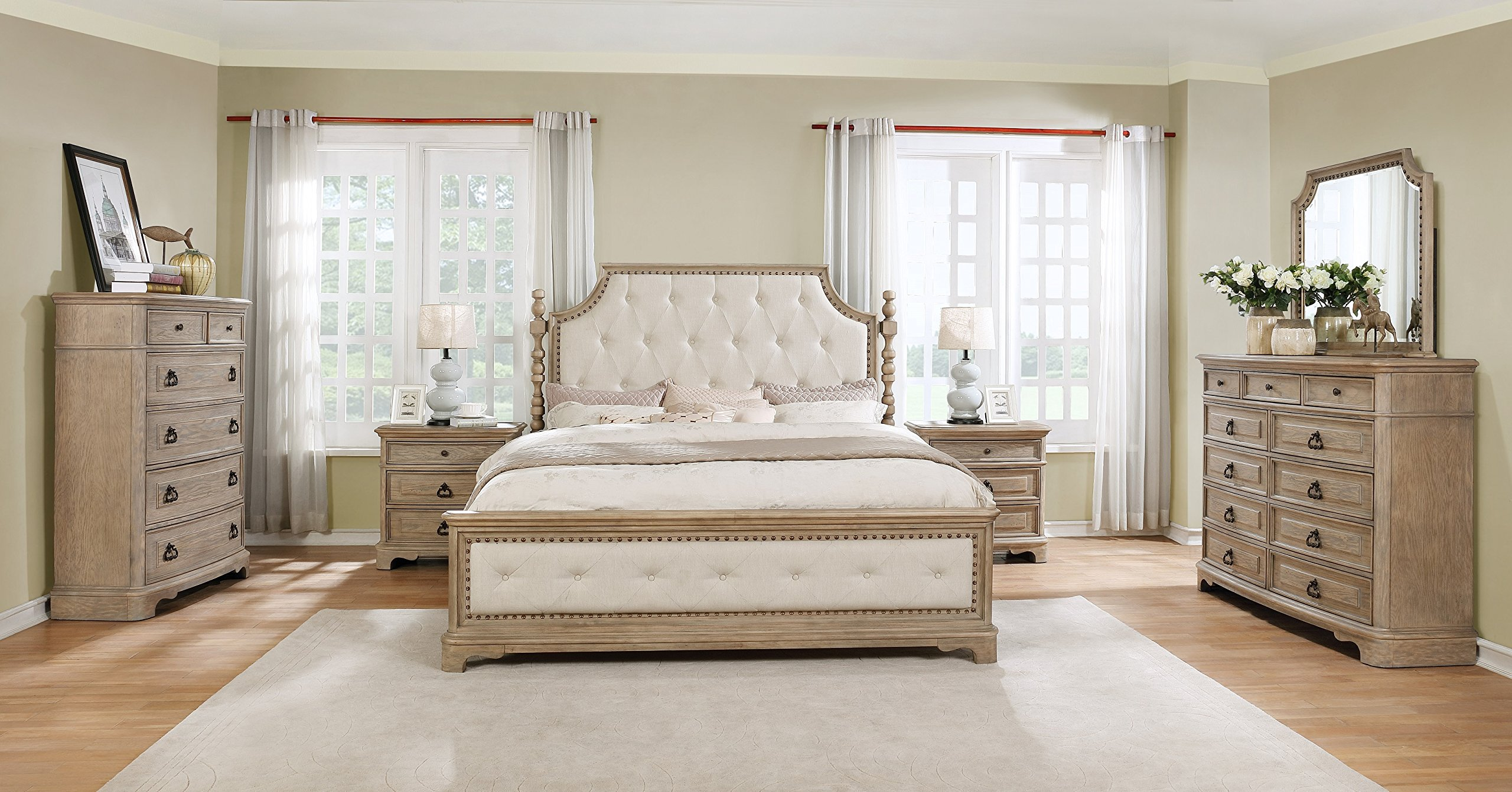 Roundhill Furniture B296KDMN2C Piraeus 296 Solid Wood Construction Bedroom Set with King Size Bed, Dresser, Mirror 2, Chest and 2 Night Stands