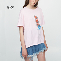 Fashion women cotton tops t-shirt logo printing custom woman clothing