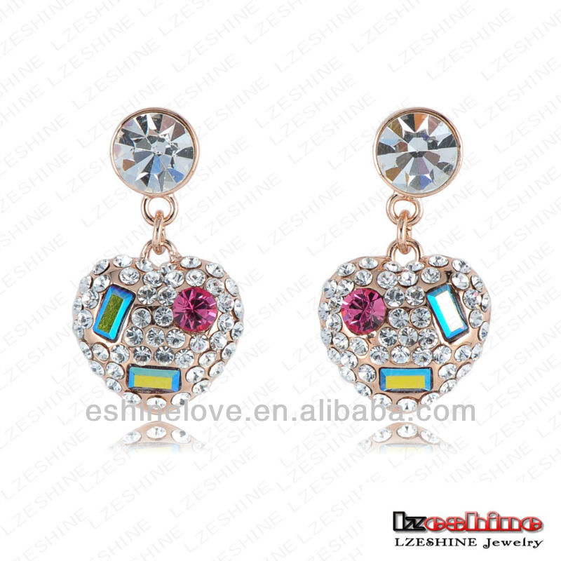 SWA Elements Austrian Crystal Earring Stud 2016 High Quality Smile Earing 18K Rose Gold Plate Heart Earrings ER0147-A