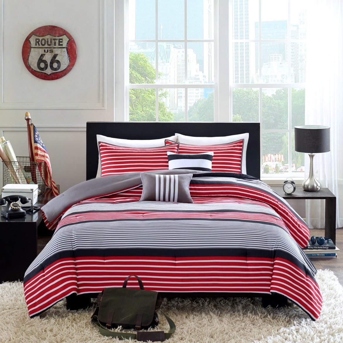 Home Style Teen Boys Bedding Rugby Stripe Red Black Gray Twin/Twin XL Comforter + Sham +2 Decorative Pillows Sleep Mask Boy Kids Comforters Sets (Twin/Twin XL Red Black)