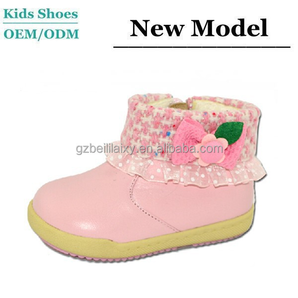 PU or leather Material Hot Sale Cute Girl Pink Ankle Boots New Products Leather Flat Ankle Boots