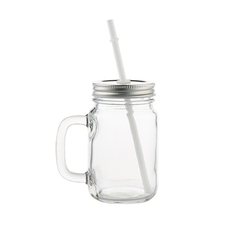 Double Wall Cylinder shape Clear glass Mason Jars With Lid and Straw,Creative Juice Drinking Glass Jars