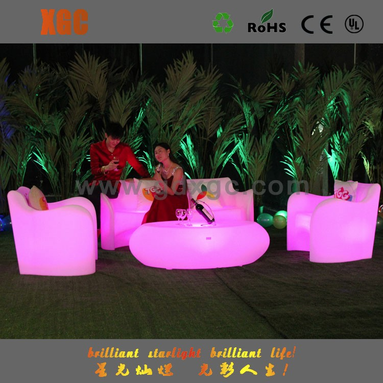 XGC LED Furniture and Decor Modern Design Lighting Outdoor Sofa Table Set Living Room Glowing Furniture LED Sofa Set