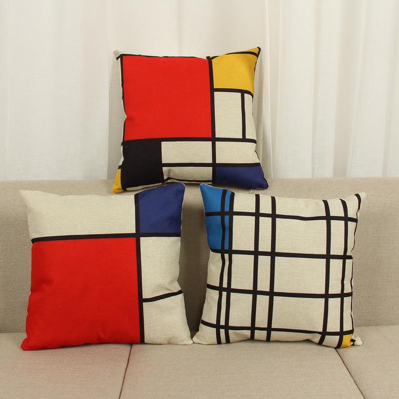 45cm Blue Red White Grid Fashion Cotton Linen Fabric Throw Pillow Hot Sale 18 Inch New Home Decor Sofa Car Cushion Office Nap HL