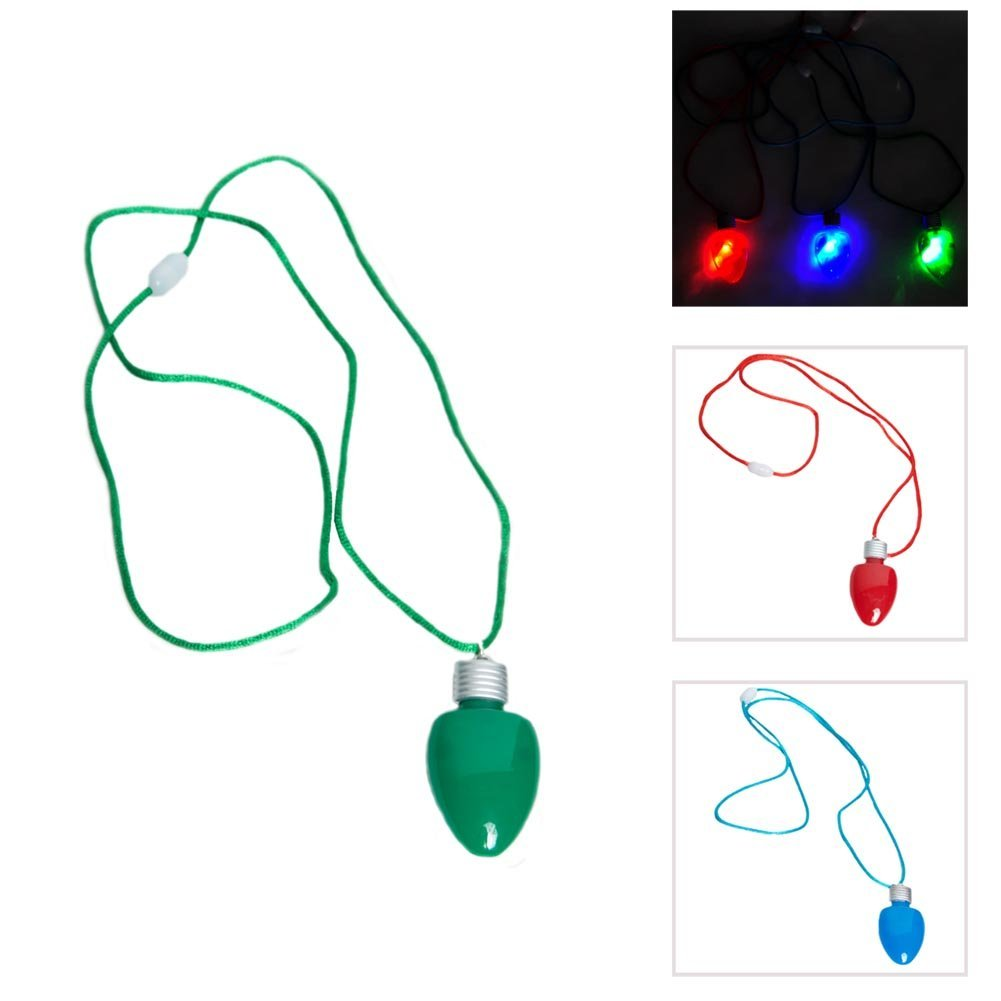 get quotations set of 12 flashing light up blinking christmas bulb pendant led costume necklace