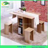 2016 new model drop leaf wooden folding dining table with four chair