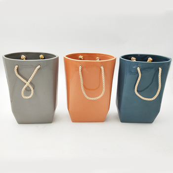 New design Flower Pot Ceramic Hand Bag Shape Succulent Plant Pots