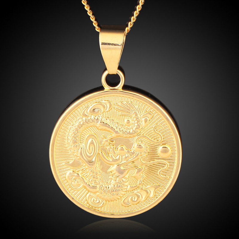 fb8d27a06f5d Wholesale Vintage Gold Color Round Chinese Ethnic Zodiac Dragon Pendant  Necklace Jewelry for women men drop