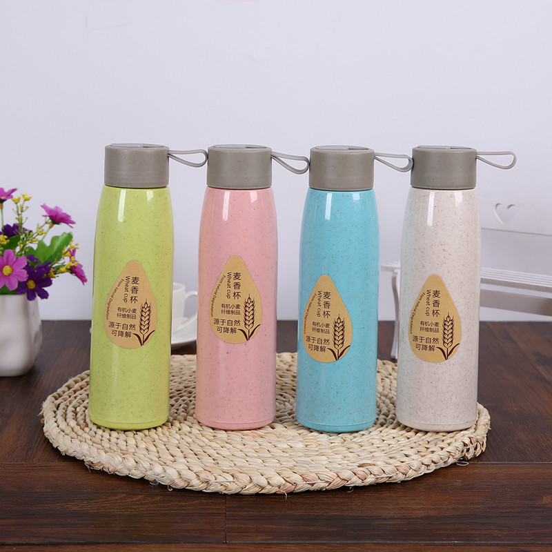 Biodegradable wheat water bottles and plastic bottles with caps
