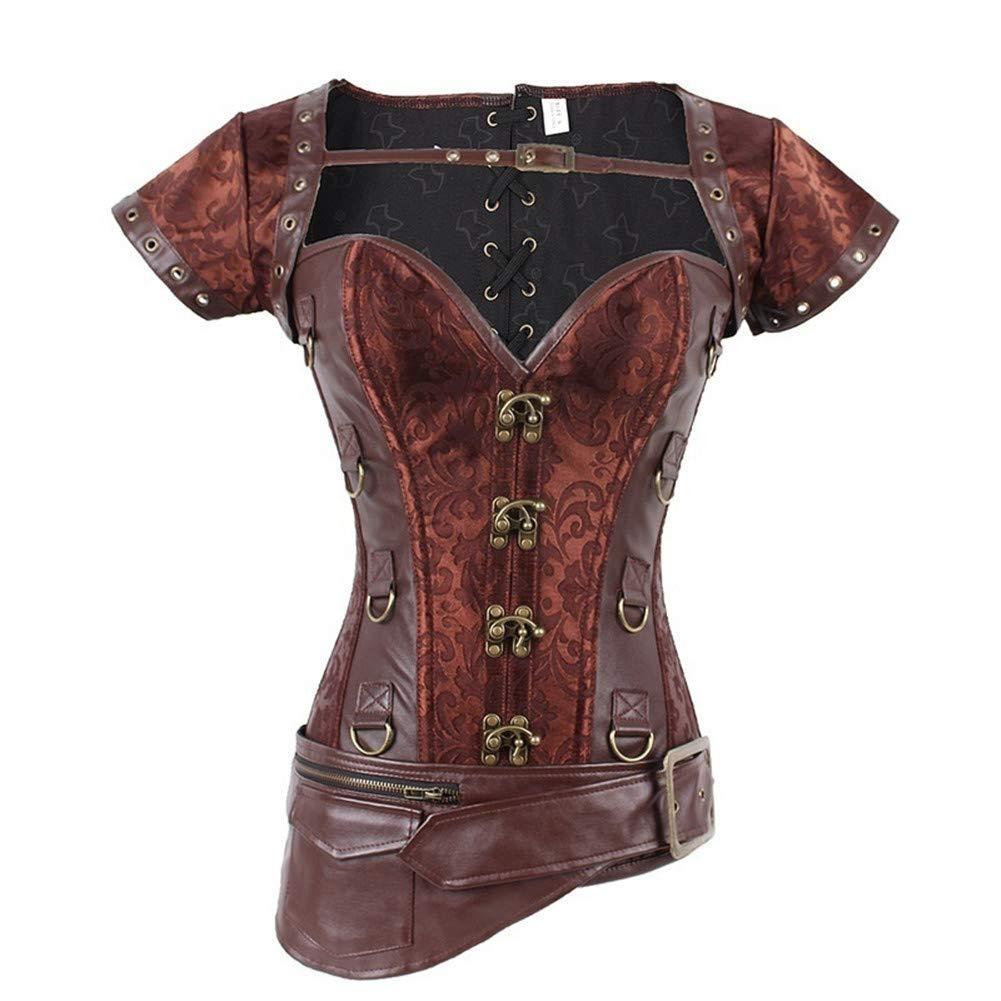 W WECHERY Women's Sexy Steel Boned Retro Corset Steampunk Gothic Bustier Waist Cincher Vest