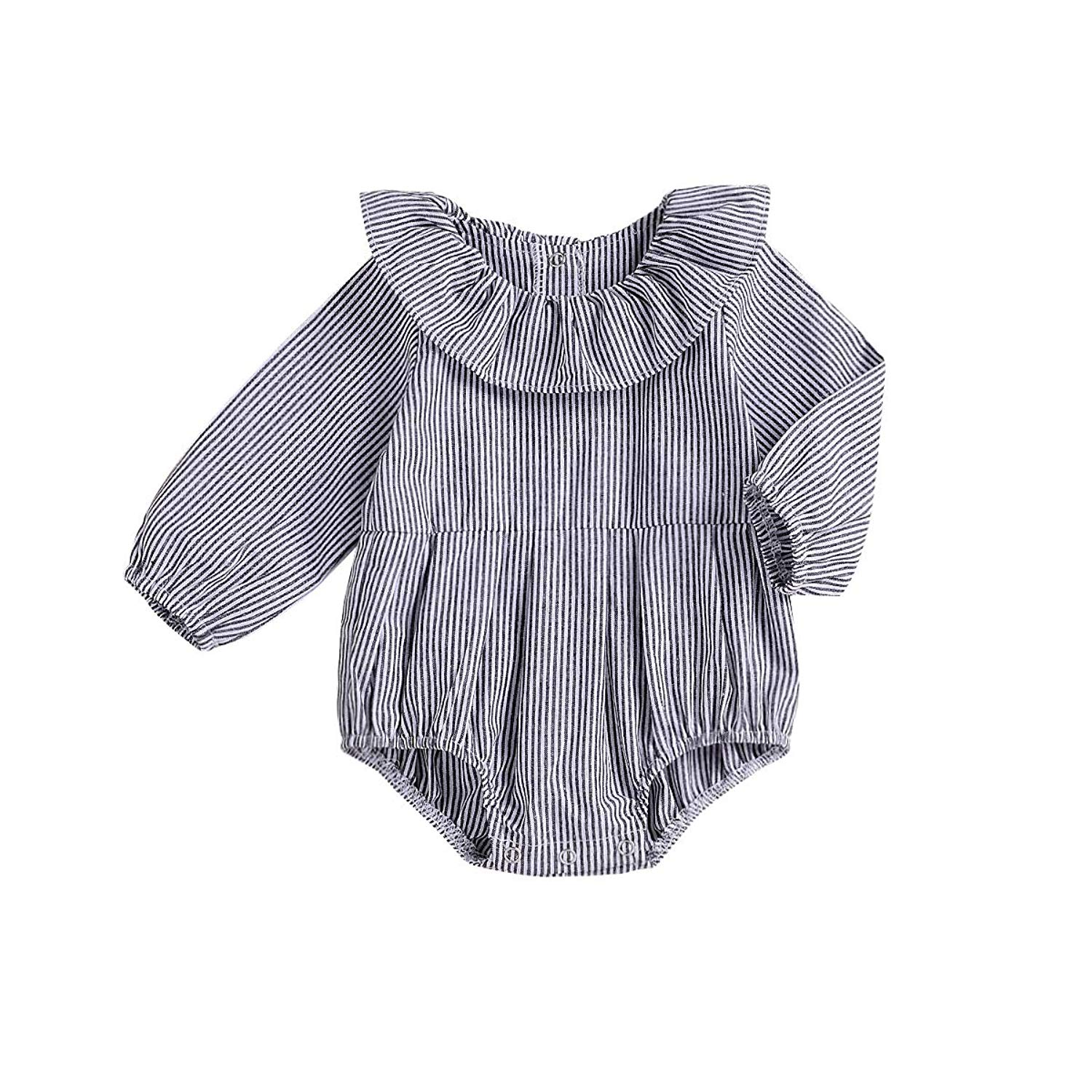 a233da2c Get Quotations · Younger Tree Newborn Baby Girls Gray Striped Romper Toddler  Long Sleeves One Piece Jumpsuit Ruffle Top