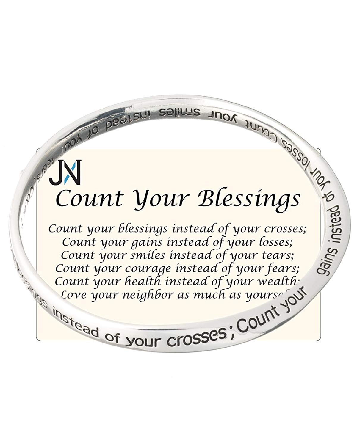 Count Your Blessings Inspirational Words Bangle Bracelet By Jewelry Nexus
