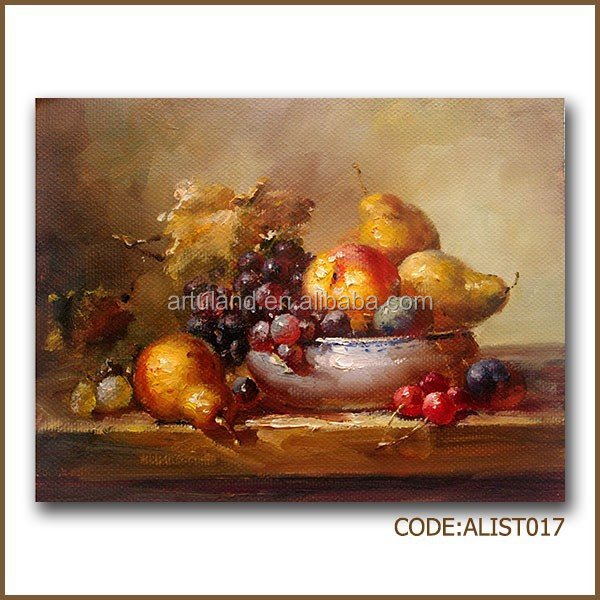 Still life fruit oil painting of pear and grape