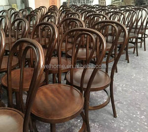 dark walnut stacking wooden thonet chairs for weddings