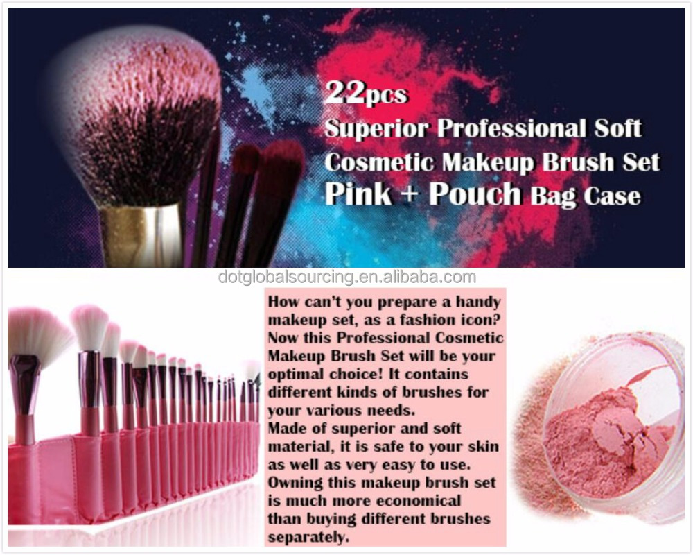 Cute 22pcs Superior Professional Soft Small Makeup Brush Set + Pouch Bag Case Cosmetic Brush